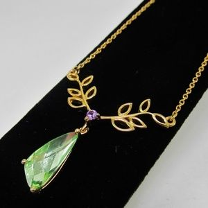 Swarovski Goldtone Purple Green Crystal Leaves NWT